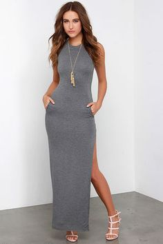 Don't underestimate the power of a chic dress like the Shield and Sword Grey Sleeveless Maxi Dress! Jersey knit tops a fitted, sleeveless bodice that extends down the body to a maxi length, but not before showing off some leg with a high side slit. Kangaroo pocket at front. Fully lined. 95% Rayon, 5% Spandex. Machine Wash Cold. Made with Love in the U.S.A.