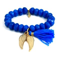 Turquoise Elastic Bracelet with Tassel and Gold Angel Wings Charms