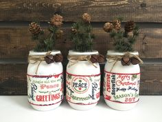 Christmas Mason Jar Decor, Christmas Greetings, Holiday Centerpiece, Table Decor, Christmas Home Decor, Set of 3 by LetterFlyDesigns on Etsy