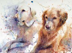 Dogs in watercolor - Kim Johnson