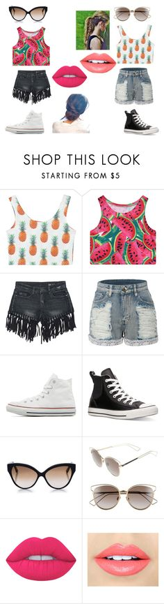 """""""Watermelon vs Pineapple """" by audreybear81 ❤ liked on Polyvore featuring Chicnova Fashion, Sans Souci, LE3NO, Converse, Cutler and Gross, Christian Dior, Lime Crime and Fiebiger"""