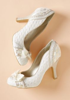 Ruby Shoo Get Ready, Get Fete Heel in Ivory in 38 - High Heel - Over 3 + by Ruby Shoo from ModCloth Bridal Heels, Wedding Shoes Heels, Prom Shoes, Bridal Shoe, 1920s Shoes, Vintage Shoes, Peep Toe Heels, Pumps Heels, Cute Shoes