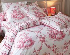 Linge de lit façon toile de Jouy