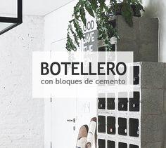 DIY botellero con bloques de cemento #diy #decoración