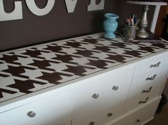 Paint and stencil that old dresser using the houndstooth craft stencil from Cutting Edge Stencils! http://www.cuttingedgestencils.com/houndstooth-craft-stencil-pattern-DIY-decor.html