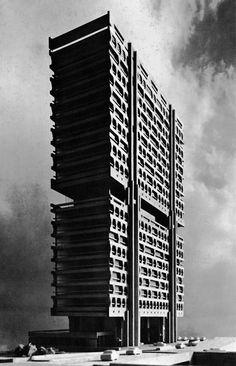 Dentsu Building, Tokyo (Project)  (Kenzo Tange, 1961-67)