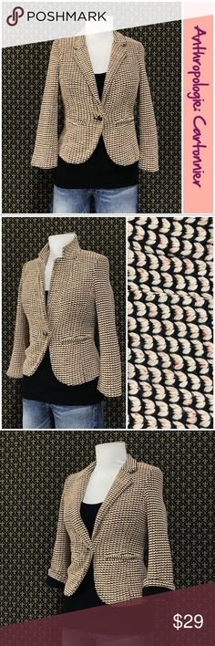 "Anthro ""Parisian Blazer"" by Cartonnier Excellent condition.  Poly/acrylic bed, super soft knit lining, 3/4 length sleeves, single button closure. Meaurements are approximate and taken with the garment laid flat and unstretched: 21"" length, 16.5"" armpit to armpit.     ☘️Prices are firm and quite reasonable 🍀Smoke Free Home 🍀Bundles Welcome but please keep them under 10 items (5lbs) 🍀Kitty friendly household 🚫No Trades 🚫No Offers 🚫No PayPal or Off-Site Transactions Anthropologie Jackets…"