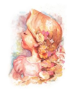 Watercolor Rapunzel from Disney's Tangled