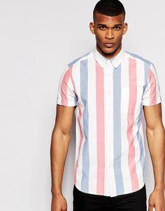 Kurzärmliges Hemd mit Liegestuhlstreifen (€ 32,99) | Asos