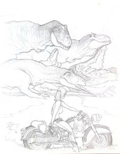 T-Rex's and the Harley Comic Art