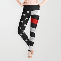 Click photo to buy these Thin Red Line leggings on Etsy! Also available on a range of products. Firefighter, Firefighters, Firefighter Wife, American Flag, Firemen, Fireman, Support, Pride, First Responders, Stars and Stripes.