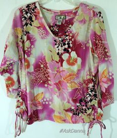 Hawaiian CARIBBEAN JOE Woman 1X Floral V Neck short Sleeve TOP blouse Ruched tie