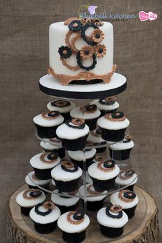 Wedding cupcake tower with an art deco theme from Blubell Kitchen.