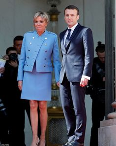 Emmanuel Macron (pictured with his wife Brigitte) has been inaugurated as France's youngest ever president at the Elysee Palace in Paris today