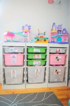 If you don't have a dedicated playroom, this small space toy storage solution might work for you! It includes ideas on how to incorporate toys into a child's ro… If you don't have a dedicated playroom, this small space toy storage solution will save you! Creative Toy Storage, Ikea Toy Storage, Toy Storage Solutions, Playroom Storage, Small Space Storage, Kids Storage, Storage Design, Storage Ideas, Daycare Storage