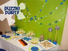 Throw a puzzle party with puzzle invites, food, favors, decor and more all puzzle themed!