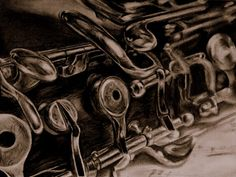 Oboe drawing by Laura Schroeder.  HB-7B pencil on paper.