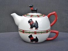 Scottish Terrier Collectibles for sale Tea For One, Scottish Terrier, Westies, Applique Designs, Vintage Posters, Holiday Cards, Tea Pots, Christmas Decorations, History