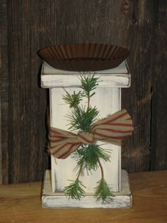 Winter Block Candle Holder with Pine and Homespun