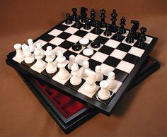 "Still ship FREE Ground + 10% off these heavy beauties! Alabaster chess & checkers in wood storage chest – 14"" x 14"" x 1.75"" wood framed board - Black/White chessmen with 3"" King, with 1.13"" king base width, 1.5"" squares. #freeshipping #alabasterchesssets"