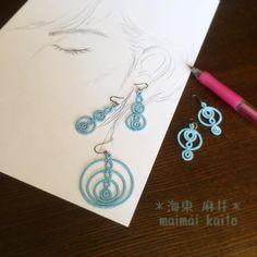 Photo by tatting_maimai on Instagram - Tatted earrings with circle motifs #tatting #jewelry