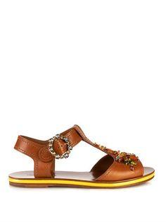 Crystal-embellished leather sandals | Dolce & Gabbana | MATCHE...