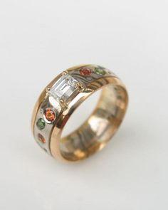 ELAINE Orange Sapphire, Green Diamond, Jewelery, Gold Rings, Wedding Rings, Engagement Rings, Detail, Design, Jewlery