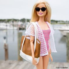 At the marina, it's time to set sail! ⛵️ #montauk #barbie #barbiestyle
