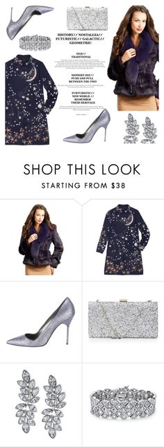 """""""The Kylie Rabbit Fur Coat with Fox Collar in Purple"""" by furhatworld ❤ liked on Polyvore featuring FRR, Valentino, Manolo Blahnik, Kenneth Jay Lane and Palm Beach Jewelry"""