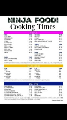 Free Ninja Foodi cooking times printable for meat, seafood and beans in your pressure cooker and air fryer appliance. We are here to help with recipes too! Air Fryer Dinner Recipes, Air Fryer Recipes Easy, Detox Recipes, Healthy Recipes, Seafood Recipes, Juicer Recipes, Blender Recipes, Noodle Recipes, Healthy Food