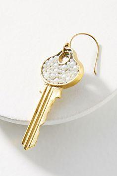 Slide View: 2: Pearled Door Key Earrings