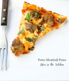 Pesto Meatball Pizza from Miss in the Kitchen #recipe #pizza