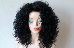Lace front wig. Black lace front wig. Cher hairstyle by kekeshop