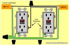 Wiring Diagrams for Electrical Receptacle Outlets Basic Electrical Wiring, Electrical Projects, Electrical Engineering, Electrical Safety, Electrical Outlets, House Wiring, Home Fix, Diy Home Repair, Home Repairs