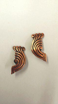 vintage copper earrings  clip on earrings copper jewelry