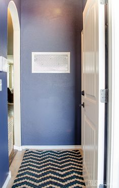 Painting a bold color in a small space is a fast and inexpensive way to make it pop! Garage Entryway, Diy Coat Rack, Small Entryways, Drop Zone, Entryway Organization, Modern Industrial, Bold Colors, Small Spaces, Pop