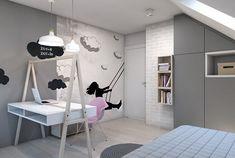 chambre enfant grise et blanche avec fauteuil design Eames et stickers