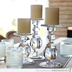 Living and Entertaining - eclectic - candles and candle holders - san francisco - Serena & Lily Dining Room Centerpiece, Candle Centerpieces, Candle Lanterns, Centerpiece Ideas, Glass Candle Holders, Candlestick Holders, Candle Sticks, Eclectic Candles, Bougie Candle
