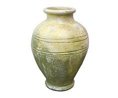 Ánfora de cerámica - verde y ocre