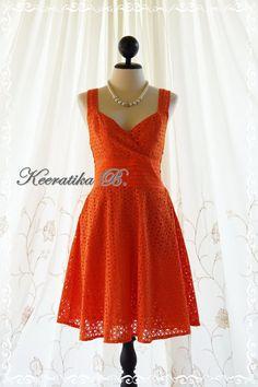 Sound Of Summer II - Sweet Women Dress Gorgeous Lace Bridesmaid Wedding Party Cocktail Tea Dress Fresh Orange Lace Dress S-M