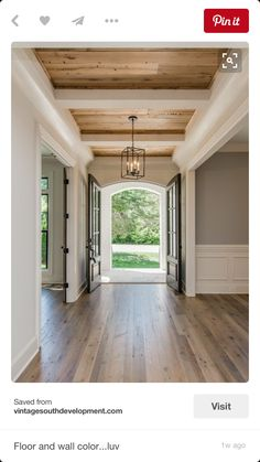 Natural pine plank ceiling