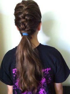 French braid ponytail. Half French braid half ponytail.