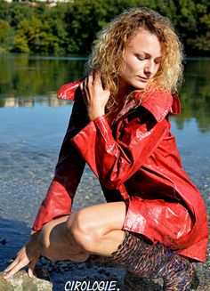 Lucie Collection CacciatoreExtérieurs Bords du Rhône Lyon, 9920 - This photo is copyrighted by the photographer and may not be used without permission. COPYRIGHT : Cirologie.com Red Leather, Leather Jacket, Pvc Raincoat, Lyon, Collections, Jackets, Fashion, Rainy Weather, Moda