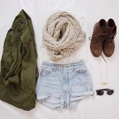 casual, white singlet, cream scarf, khaki jacket, denim shorts, brown ankle boots