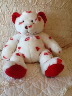 Plush Teddy Bear White With Red Hearts Valentine's Day Stuffed Animal