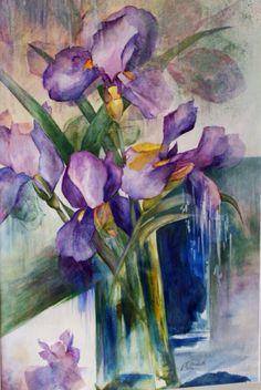 Iris in Still Life, Watercolour by Elizabeth Little