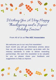 Wishing You A Very Happy Thanksgiving and a joyous holiday season from all of us at The AEC Associates.