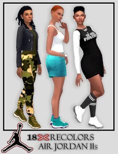 18 Recolors of SimsInBlaque's YF Jordan 11sI wanted to upload this tonight and with the update I would have to go through hoops to avoid being on line so I don't have to patch my game. So it's missing the purple top/light blue sole recolor. When I...