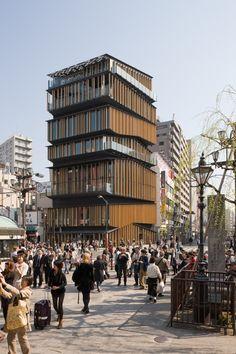 Architecture buiding by Kengo Kuma Tokyo Architecture, Temporary Architecture, Timber Architecture, Classical Architecture, Residential Architecture, Architecture Details, Wooden Facade, Kengo Kuma, Facade Design