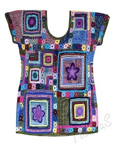 SvetlanaTomina's Gypsy Queen tuniek - Lilly is Love Crochet Motifs, Crochet Tunic, Crochet Jacket, Freeform Crochet, Crochet Squares, Crochet Granny, Crochet Clothes, Crochet Stitches, Crochet Patterns